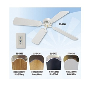 "LaSalle Bristol 12V 42"" RV Ceiling Fan Nickel With Black Blades"