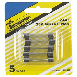 Bussmann BP/AGC-25-RP 25 Amp AGC Glass Tube Fuse