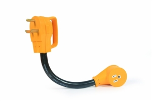 Camco 55155 Power Grip Dogbone 30 Amp Male to 15 Amp Female Electrical Adapter - 12""