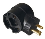 Coleman Cable 09524-55-08 15 Amp Male to 30 Amp Female Right-Angle RV Adapter