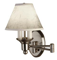 Gustafson 54AM508XYZ23 Satin Nickel Shaded Swing Arm Wall Lamp