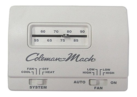 Coleman Mach Air Conditioner Wall Thermostat, Analog, Heat/Cool, White. 12VDC