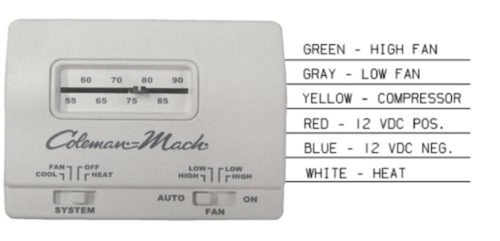 Coleman Mach 7330g3351 Analog Heat Cool Rv Air Conditioner Thermostat 12v White