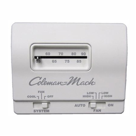 Coleman Mach Air Conditioner Wall Thermostat, Analog, Cool Only, White; 12VDC