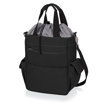 Picnic Time Activo Cooler Tote - Black with Grey and Silver