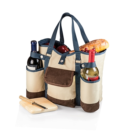 Picnic Time Wine Country Tote - Tan with Blue and Brown Trim