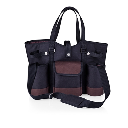 Picnic Time Wine Country Tote - Black with Merlot Trim