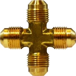 "Anderson Metals C1-6666 Brass 45-Degree Flare Cross, 3/8"" OD"