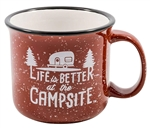 Camco 53235 Life Is Better At The Campsite Travel Mug - Speckled Red - 16 Oz