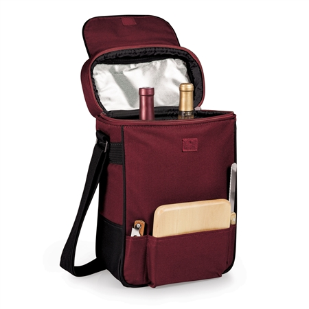 Picnic Time Duet Wine and Cheese Tote - Burgundy