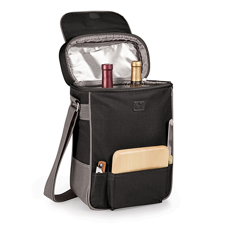 Picnic Time Duet Wine and Cheese Tote - Black with Grey