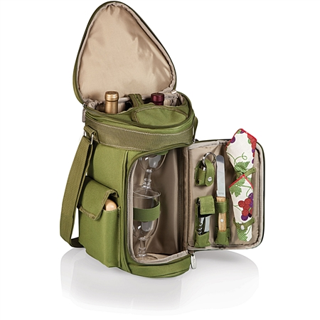 Picnic Time Meritage Wine and Cheese Tote - Olive Green