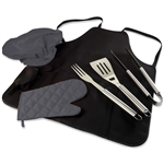 Picnic Time BBQ Apron Tote Pro - Black with Dark Grey Accessories