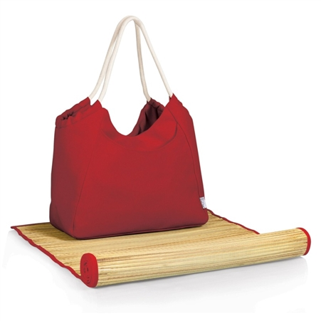 Picnic Time Cabo Beach Tote and Mat - Red