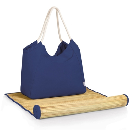 Picnic Time Cabo Beach Tote and Mat - Navy