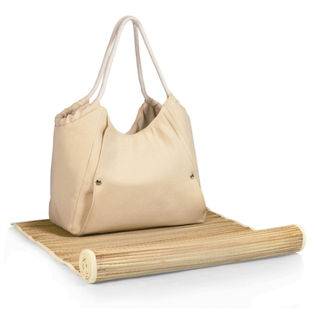 Picnic Time Cabo Beach Tote and Mat - Beige
