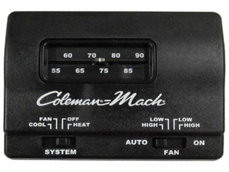 Coleman Mach Air Conditioner Wall Thermostat, Analog, Heat/Cool, Black; 12VDC