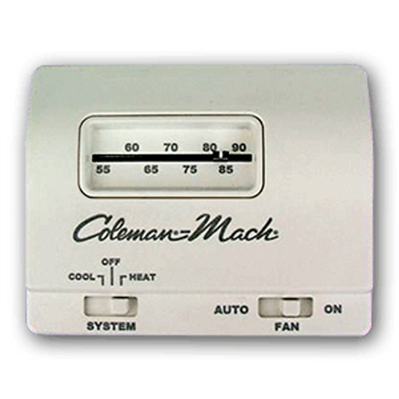 Coleman Mach 7330B3441 Analog Single Stage Heat/Cool RV Air Conditioner Thermostat - White - 24 Volt