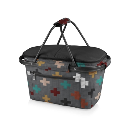 Picnic Time Market Basket  Collapsible Tote - Pixels Collection