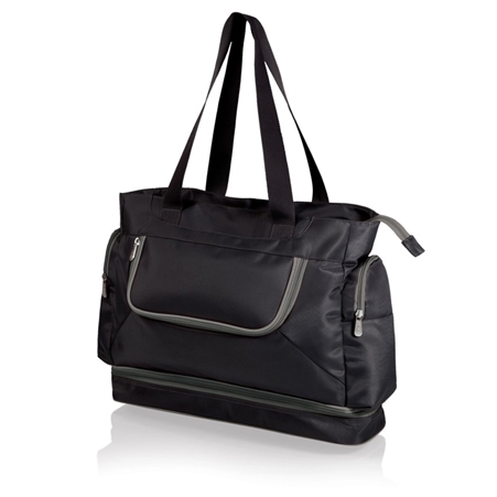 Picnic Time Beach Tote - Black with Grey Trim
