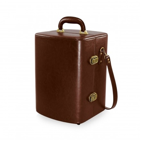 Picnic Time Manhattan Portable Cocktail Case - Mahogany with Burgundy plaid