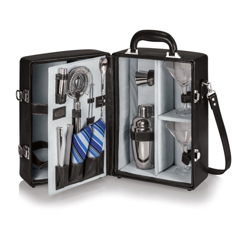 Picnic Time Manhattan Portable Cocktail Case - Black with Grey