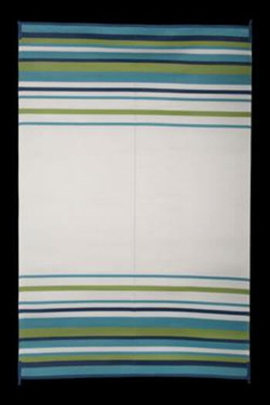 Faulkner 68678 Reversible RV Outdoor Patio Mat - Aqua, Navy, Lime & White Striped Design - 9' x 12'