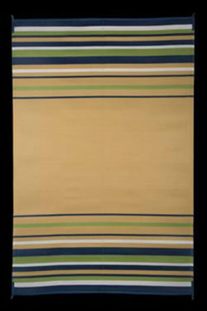 Faulkner 68790 Reversible RV Outdoor Patio Mat - Navy, White, Lime & Beige Striped Design - 9' x 12'