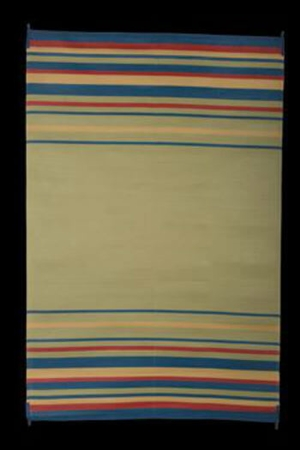 Faulkner 68847 Reversible RV Outdoor Mat - Blue, Brick, Beige & Green Striped Design - 8' x 20'