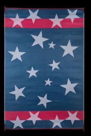 Faulkner 68865 Reversible RV Work & Play Mat - Red, White & Blue Stars N' Stripes Design - 3' x 5'