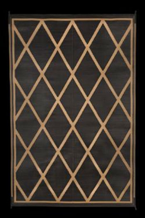 Faulkner 68888 Reversible RV Outdoor Patio Mat - Black & Beige Diamond Design - 9' x 12'