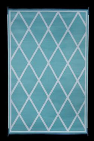 Faulkner 68903 Reversible RV Outdoor Patio Mat - Turquoise & White Diamond Design - 8' x 20'