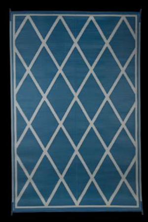 Faulkner 68912 Reversible RV Outdoor Patio Mat - Blue & Ivory Diamond Design - 9' x 12'