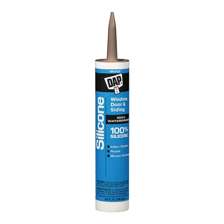 DAP 08647 100% Silicone Window & Door Sealant - Bronze - 10.1 Oz