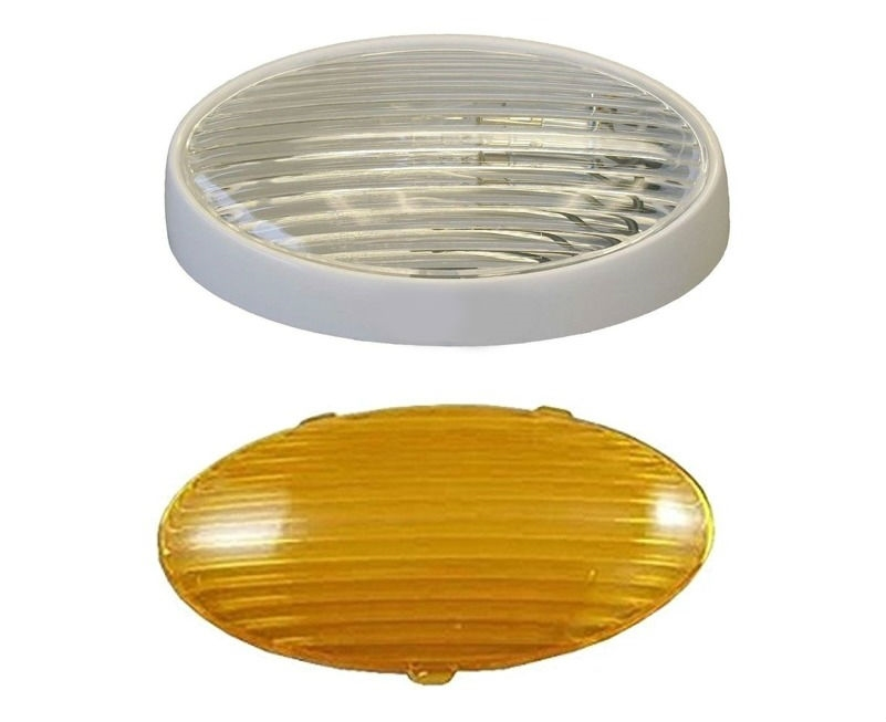LED Euro Style RV Porch Light White Cover and Clear Lens Low Profile