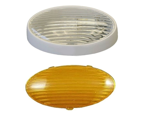 Gustafson AM4033 Oval RV Porch Light With Clear And Amber Lenses - Without Switch