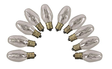 Camco 54704 Replacement Clear Patio 7C7 Light Bulb - 10 Pack