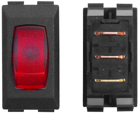 Valterra DG121PB SPST 110V Illuminated On/Off Rocker Switch - Black/Red - 3 Pack
