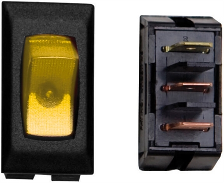 Diamond Group A1-37 SPST Illuminated On/Off Rocker Switch - Amber/Black - 3 Pack
