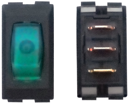 Diamond Group A1-38 SPST Illuminated On/Off Rocker Switch - Green/Black - 3 Pack