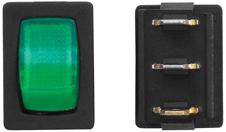 Diamond Group A2-38 12V Mini Illuminated On/Off SPST Switch - Black/Green - 3 Pack