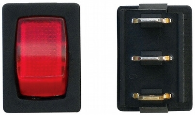 Valterra DG623PB Mini 12V Illuminated On/Off SPST Switch - Black/Red - 3 Pack