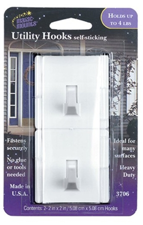 Magic Mounts 3706 Self Sticking Utility Hooks - 2 Pack