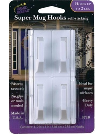 Magic Mounts 3710 Self Sticking Super Mug Hooks - 4 Pack