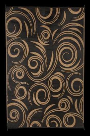 Faulkner 69098 Reversible Rv Outdoor Patio Mat Black Beige Swirl Design 8 X 20