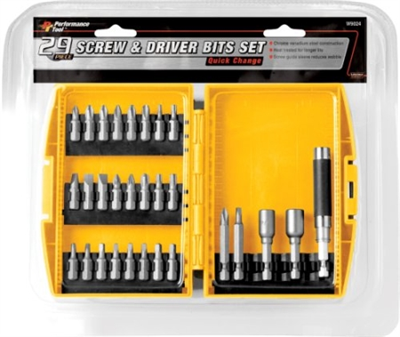 Performance Tool W9024 Quick Change Screw and Driver Set - 29 Piece