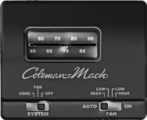 Coleman Mach 7330-3861 Analog Cool Only RV Air Conditioner Thermostat - Black
