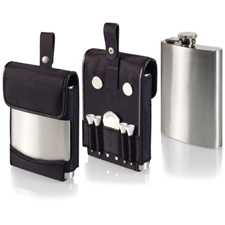 Picnic Time Golf Flask and Golf Accessories Set - Black