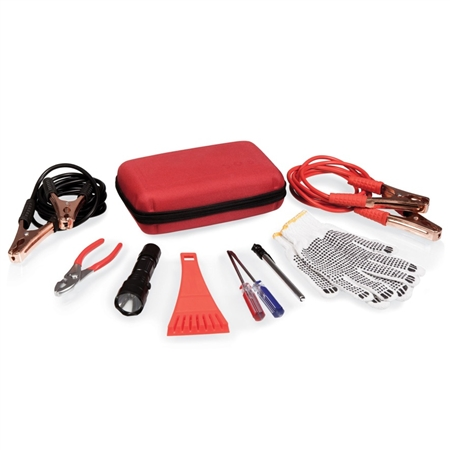 Picnic Time Highway Emergency Kit for Roadside Repair - Red
