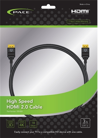 Pace International 115-003 High Speed HDMI 2.0 Cable - 3'